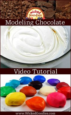 How to Make Modeling Chocolate Video Video tutorial with recipes and instructions on how to make modeling chocolate from scratch using dark, white and milk chocolate plus sugar syrup Modeling Chocolate Recipes, Chocolate Videos, Chocolate Art, Chocolate Molds, Cake Decorating Videos, Cake Decorating Techniques, Cookie Decorating, Decorating Tips, Frosting Recipes