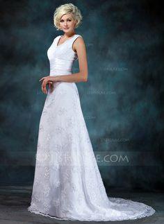 Empire V-neck Court Train Satin Lace Wedding Dress With Ruffle Beading (002000314)