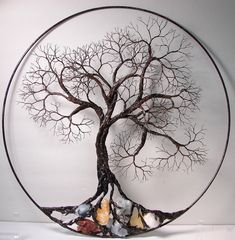 "WOW $850 Wire Tree Of Life Ancient Spirit sculpture with natural Calcites, original Art 16"" wall hanging decor"