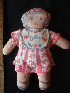 "Antique 1920's - 30's Cloth print doll: 12""  DOLLY"