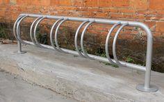 5 bike space hot dip galvanized and powder coated glossy silver bike parking rack