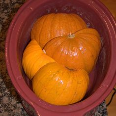 Cooking Fresh Pumpkins in a Slow Cooker then freeze the puree for later use.