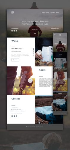 Simple One Page Portfolio website. on Behance Design Web, Web Design Tutorial, Design Social, Web Design Quotes, Logo Design, Web Design Trends, Web Design Company, One Pager Design, Website Design Inspiration
