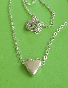 Bridal Silver Puffed Heart Necklace by joytoyou41 on Etsy, $20.00