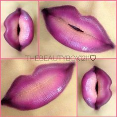 Gorgeous purple ombre #makeup #lips #lipstick