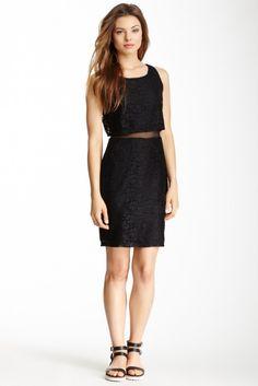 Want & Need Lace & Mesh Sleeveless Dress