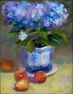 blue-hydrangea Christine Cortese: Plein Air Oil Paintings of California