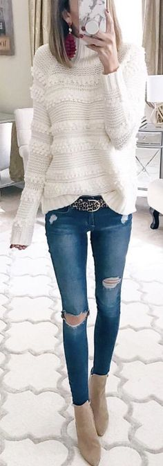 #winter #outfits white knitted sweater #CasualChicFashion
