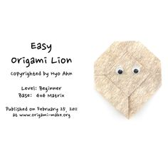 Introducing an Easy Origami Lion Origami Lion, Easy Origami, Origami Animals, Origami Models, Paper Art, Origami Easy