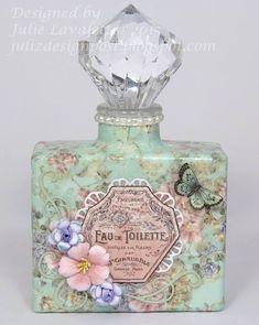 Juliz Design Post: Up-Cycled Parfüm-Flaschen – Craft Consortium - Parfums Antique Perfume Bottles, Vintage Perfume Bottles, Wine Bottle Crafts, Bottle Art, Beautiful Perfume, Altered Bottles, Bottles And Jars, Glass Bottles, Shabby Chic