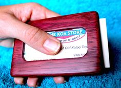 This is a hand made business card holder of solid purpleheart and brass. I show you how to make your own!