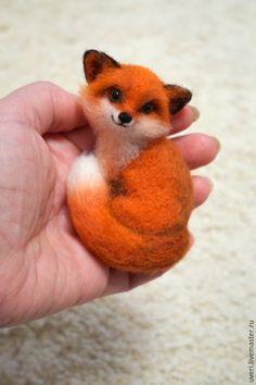 """Купить Брошь """"Лиса"""" - лисенок, лиса, рыжий лис, Валяние, валяная игрушка…"""