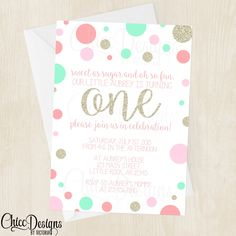Gold, Pink and Mint Polka Dots - First Birthday Invitation - Digital/Printable File by ChiccDesigns on Etsy