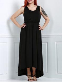9ea74942f1e5b Trendy Black U-Neck Sleeveless High Waist Asymmetric Plus Size Dress For  Women