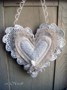 layered fabric sewn VALENTINE heart remnant hanging by ajoy2bheld, $16.00