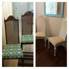 70's chairs updated with paint and modern upholstery.