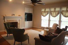 Woodrow Wilson Putty - color option 3 for basement remodel Valspar Paint Colors, Basement Remodeling, Neutral, Walls, Curtains, House, Home Decor, 1st Grades, Blinds