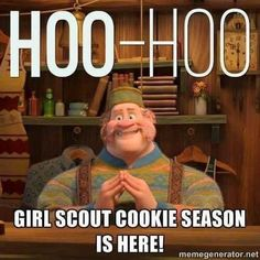 GS Cookie season is here- Frozen Girl Scout Brownie Badges, Girl Scout Cookie Meme, Girl Scout Cookie Sales, Girl Scout Law, Girl Scout Leader, Girl Scout Cookies Recipes, Girl Scout Activities, Girl Scout Juniors, Daisy Girl Scouts