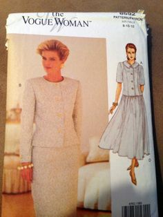 Vogue Woman Pattern 8592 Rated Very Easy to Sew by SewVintageCo, $12.00 1990's fashion dress, Size 12 cut. Can be cut to size 8 or 10.