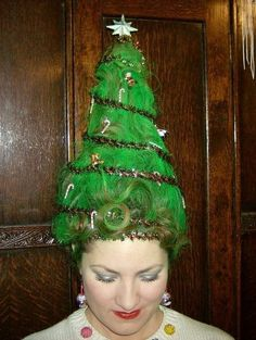 28 Ugly christmas sweater party ideas - C. - 28 Ugly christmas sweater party ideas – C. Costume Christmas, Christmas Tree Hair, Tacky Christmas Party, Tacky Christmas Sweater, Christmas Holidays, Whoville Christmas, Christmas Decor, Christmas Ideas, Xmas Sweaters