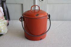 Vintage French Red Enamel Lunch Box/Lunch Pail