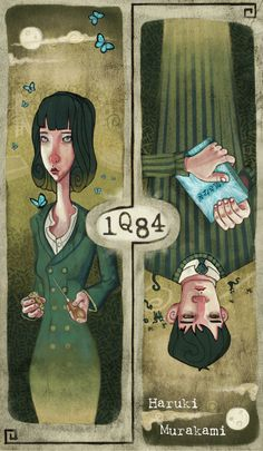 Faux book cover for Haruki Murakami's 1Q84 by Katie Lawter.  Harbinger of Muffins - Illustrations By Katie Lawter