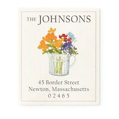 Flowers in Measuring Cup - Return Address Labels   Stationery