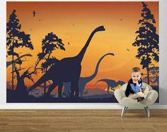 Dinosaur Landscape Blue and Orange Easy Up Mural - Wall Sticker Outlet