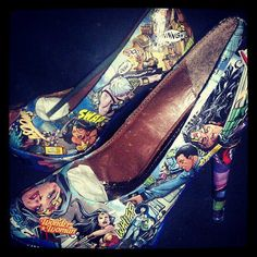 Wonder Woman Custom Comic Book Shoes by TheRealHellOnHeels on Etsy, $135.00