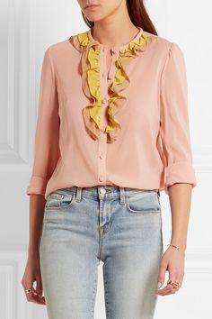 REDValentino   Ruffled stretch-silk mousseline blouse   NET-A-PORTER.COM