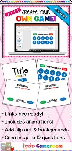 Create your own 10 question powerpoint game. Includes animation and link. Just add your own clip art, background, and questions! Teacher Resources, Primary Resources, Classroom Resources, Learning Resources, Teaching Ideas, Classroom Ideas, Star Citizen, Surfer Kids, Powerpoint Game Templates