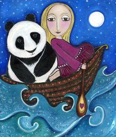 Girl and Panda in Boat Whimsical Folk art by LindyLonghurst