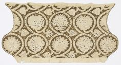 Coif, late 16th century. late 16th century. Medium: linen, metal-wrapped silk-core threads, metal strip, metal spangles Technique: embroidered in chain and satin stitches; withdrawn element work with overcasting and looping stitches; cut work with needle lace fillings; metallic threads worked in de.   England