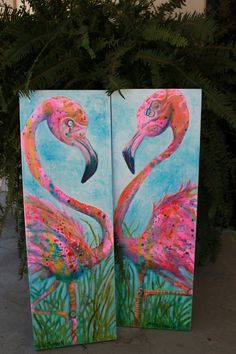 """Pink Flamingo Original Painting on Canvas set of 2 """"Flaminco's"""" by Erika Johnson 12 x 36 inches. $350.00, via Etsy."""