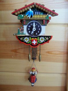 Swiss Decorative Wood House Cuckoo Wall Clock Switzerland