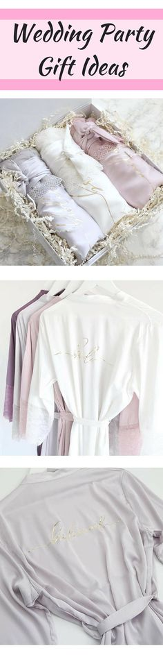 Satin and Lace Bridal Robes - Maid of Honor Proposal Gift White Blush Light Gray Rich Mauve Satin Bridal Party Robe Bridesmaid Robes Lace #wedding #weddingday #weddinggifts #gifts #giftidea #robe #weddingrobe #bridesmaid #maidofhonor #bridesmaidgift #weddingparty #affiliate