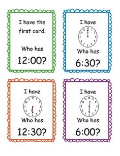 This is a fun game to use to practice counting telling time to the hour and half-hour. There are 25 cards included.Common Core standard 1.MD.3...