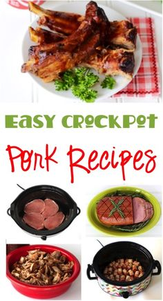 7 Easy Slow Cooker Pork Recipes your family will love!  Go grab the Crockpot and get ready for a delicious dinner!   TheFrugalGirls.com