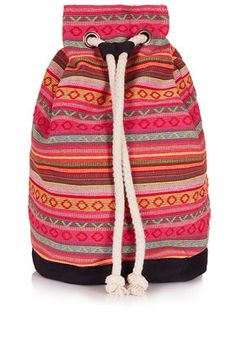 Stripe Duffle Backpack - Festival  - Clothing  Top shop