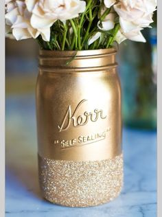 Mason jars dipped in glitter!