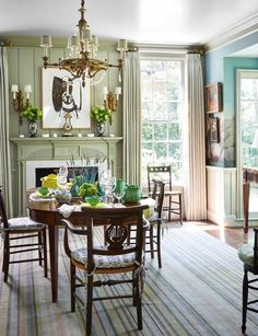 A Classically Pretty Home by Cathy Kincaid- Wonderful new-traditional dining room
