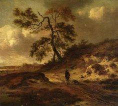 Jan Wijnants - Landschap met een man en hond