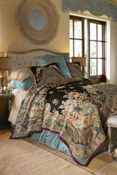 Ariya Tapestry Coverlet from Soft Surroundings.  Love the coverlet and the valance over the window