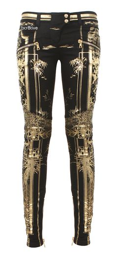 Balmain black and gold biker jeans | The House of Beccaria