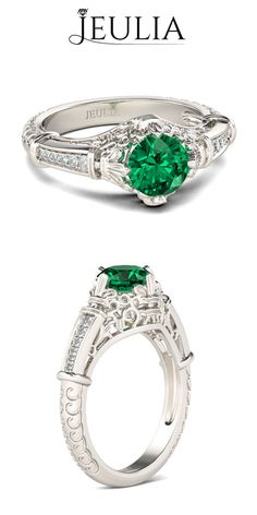 Round Cut Emerald Rhodium Plated Sterling Silver Women's Engagement Ring #jeulia