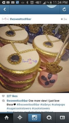 Stacked cookies and cake pops Sofia the first theme