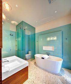 Blue Glass Tile Bathroom Design Ideas, Pictures, Remodel, and Decor - page way to place faucet Shower Enclosure, Home, Glass Bathroom, Gorgeous Bathroom, Dream Bathrooms, Modern Bathroom, House, Walk In Shower Enclosures, Bathroom Design