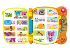 VTech Touch and Teach Word Book  Touch & Teach Word Book                                               Discover the magic of words with the Touch & Teach Word Book by VTech. Cody The Smart Cub and Cora The Smart Cub teach letters and more than 100 words in four different activities. Twelve interactive pages come to life with the touch of a finger.              Make reading an even more interactive experience with the Touch & Teach Word Book. Each page reacts to your child's touch wit..