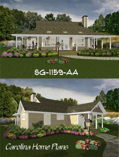 Small, spacious and bright floor plan with 2 bedrooms and 2 baths sq ft) 3d House Plans, Porch House Plans, Small House Plans, Affordable House Plans, Affordable Housing, Floor Plan Layout, Bedroom Floor Plans, Cottage Style Homes, Bedroom Layouts