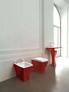 Jazz, design Meneghello Paolelli Associati.  #bagno #bathroom #design #decor #white #red #sanitaryware #Artceram